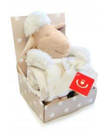 Bobobaby zestaw upominkowy kocyk + maskotką owieczka
