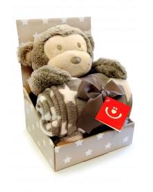 Bobobaby zestaw upominkowy kocyk + maskotka małpka