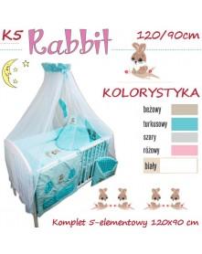 Ankras Pościel 5 elementowa Rabbit 120/90 40/60 z ochraniaczem 180cm / Beżowa