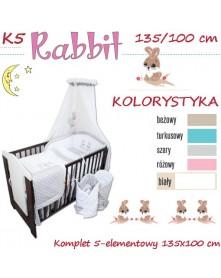 Ankras Pościel 5 elementowa Rabbit róż 135/100 40/60 z ochraniaczem 180cm