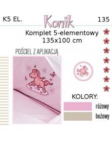 Ankras Pościel 5 elementowa z Konikiem 135/100 40/60 z ochraniaczem 180 cm
