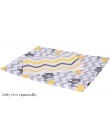 MD Pościel 3-elementowa drukowana  Żółty Słoń z parasolką