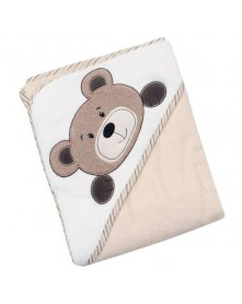 Baby Mix okrycie kąpielowe z kapturem 100x100cm - 100% bawełny beżowy miś