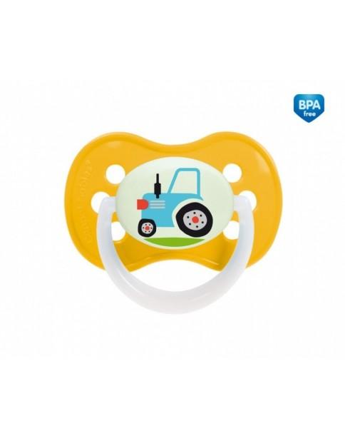 """Canpol Smoczek kauczukowy okrągły """"Vehicles"""" 0-6 miesięcy żółty 22/411"""