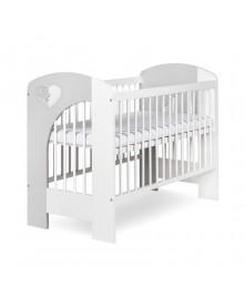 Klupś łóżeczko Nel SERCE biały-popiel 120x60cm