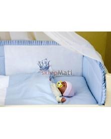 MD Prześcieradło bawełniane z gumką 120x60cm Niebieskie Paseczki