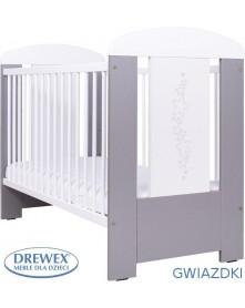 Drewex Łóżeczko drewniane Srebrne Gwiazdki 120x60cm