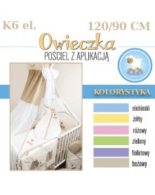 Ankras pościel 6 elementowa słodki sen Owieczka 120/90 40/60 z ochraniaczem 180 cm i baldachimem