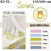 Ankras Pościel 2 elementowa Sowy bez wypełnienia 135/100 40/60