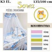 Ankras Pościel 3 elementowa Sowy bez wypełnienia 135/90 40/60