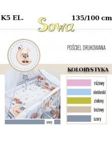 Ankras Pościel 5 elementowa Sowy bez wypełnienia 135/90 40/60 oraz ochraniacz 360cm