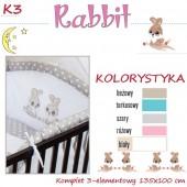 Ankras Pościel 3 elementowa Rabbit turkus bez wypełnienia 135/100 40/60 z ochraniaczem 180cm