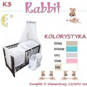 Ankras Pościel 3 elementowa Rabbit turkus bez wypełnienia 120/90 40/60 z ochraniaczem 180cm