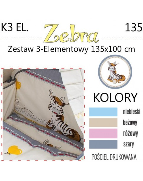 Ankras Pościel 3-elementowa Zebra 135/100 cm