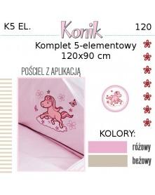 Ankras Pościel 5 elementowa Konik 120/90 40/60 z ochraniaczem 180cm
