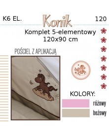 Ankras Pościel 6 elementowa Konik 120/90 40/60 z ochraniaczem 180cm i baldachimem