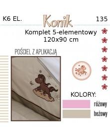Ankras Pościel 6 elementowa Konik 135/100 40/60 z ochraniaczem 180 cm i baldachimem