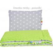Małe Duże kocyk 100x135 Jesień Limonka Minky Gwiazdki