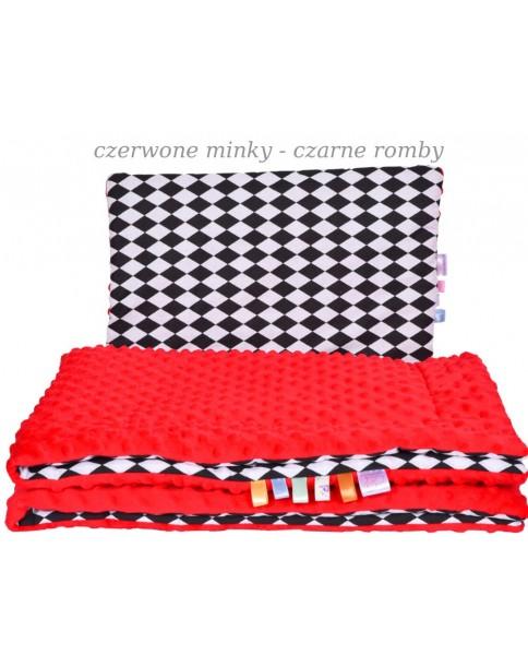 Małe Duże kocyk 100x135 Jesień Czerwone Minky Czarne Romby