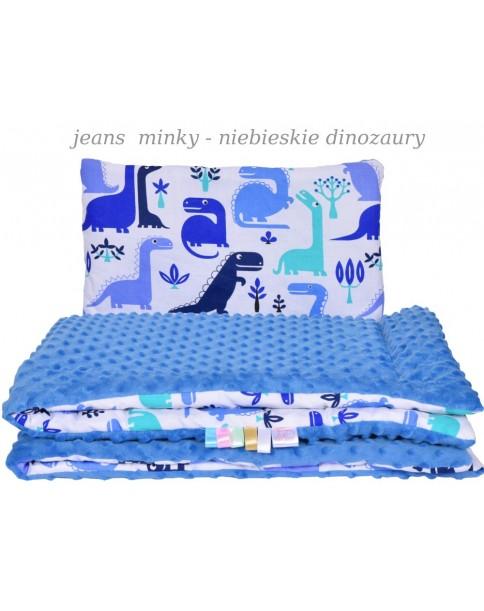 Małe Duże kocyk 100x135 Jesień Jeans Minky Niebieskie Dinozaury