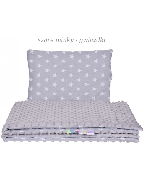Małe Duże kocyk 100x135 Jesień Szare Minky Gwaizdki