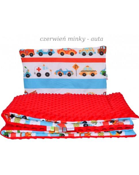 Małe Duże kocyk Minky100x135cm Zima Czerwień Minky Samochody