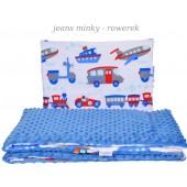 Małe Duże kocyk Minky100x135cm Zima Błękit Jeans Minky Rowerek