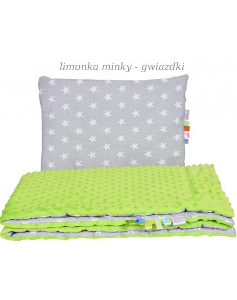 Małe Duże kocyk Minky100x135cm Zima Limonka Minky Gwiazdki
