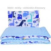 Małe Duże kocyk Minky100x135cm Zima Błękit Minky Niebieskie Dinozaury