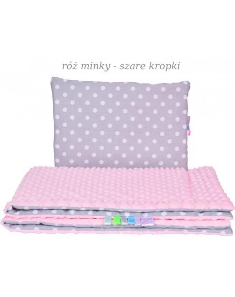 Małe Duże kocyk Minky100x135cm Zima Róż Minky Szare Kropki