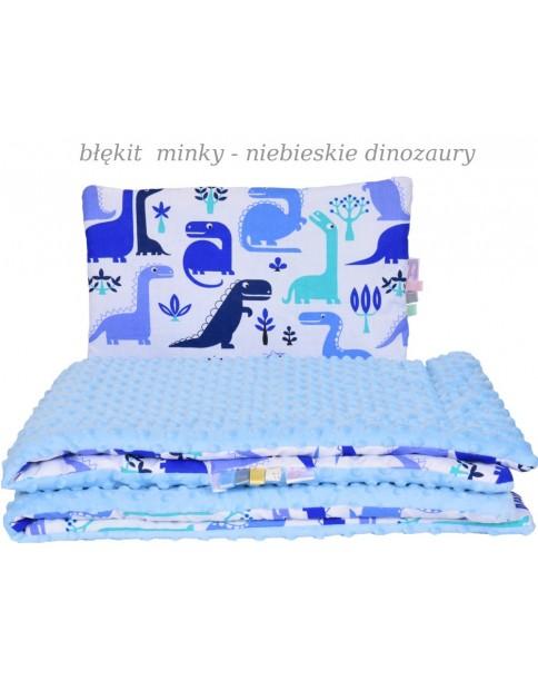 Małe Duże kocyk Minky 75x100cm Jesień Błękit Minky Niebieskie Dinozaury