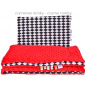 Małe Duże kocyk Minky 75x100cm Jesień Czerwone Minky Czarne Romby