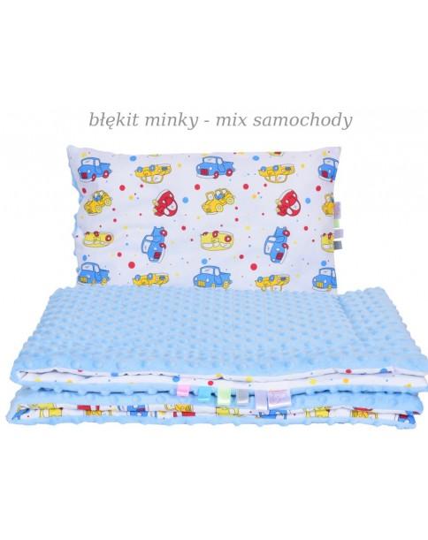 Małe Duże kocyk Minky 75x100cm Zima Błękit Minky Mix Samochodowy