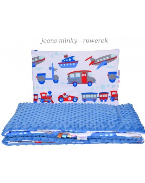 Małe Duże kocyk Minky 75x100cm Zima Błękit Jeans Minky Rowerek