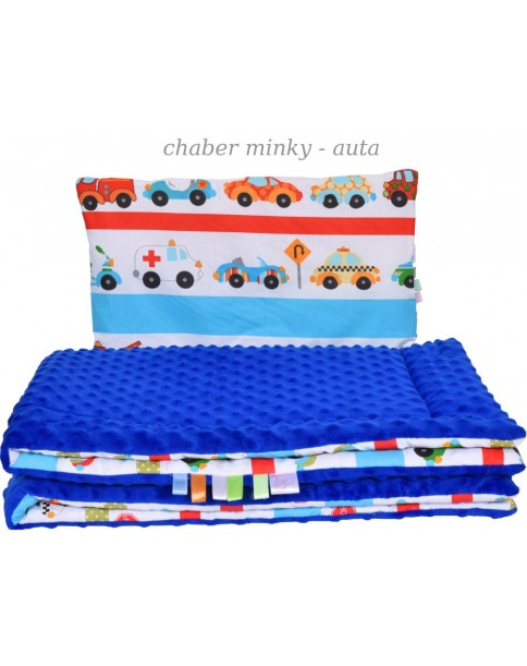 Małe Duże poduszka do łóżeczka Minky 40x60cm Chaber Minky Auta