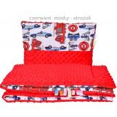 Małe Duże poduszka do łóżeczka Minky 40x60cm Czerwień Minky Strażak