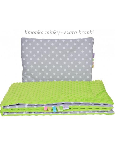 Małe Duże poduszka do łóżeczka Minky 40x60cm Limonka Minky Szare Kropki
