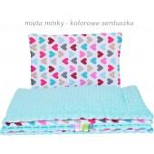 Małe Duże poduszka do łóżeczka Minky 40x60cm Mięta Minky Kolorowe Serduszka