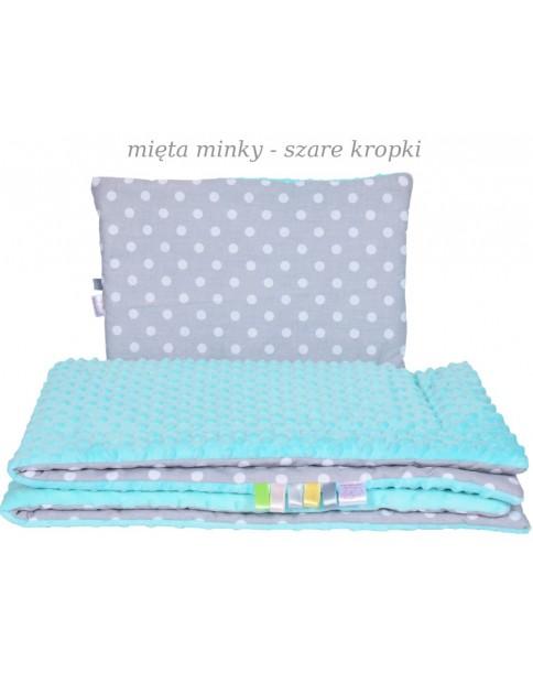 Małe Duże poduszka do łóżeczka Minky 40x60cm Mięta Minky Szare Kropki