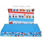 Małe Duże poduszka do łóżeczka Minky 40x60cm Turkus Minky Auta