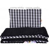 Małe Duże poduszka do łóżeczka Minky 40x60cm Czarna Minky Czarne Romby
