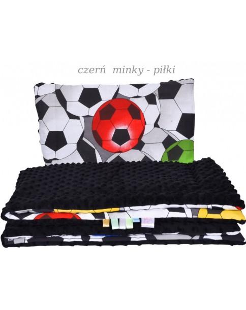 Małe Duże poduszka do łóżeczka Minky 40x60cm Czerń Minky Piłki