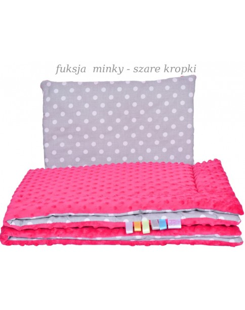 Małe Duże poduszka do łóżeczka Minky 40x60cm Fuksja Minky Szare Kropki
