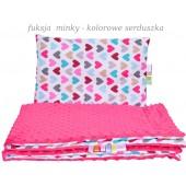 Małe Duże poduszka do łóżeczka Minky 40x60cm Fuksja Minky Kolorowe Serduszka