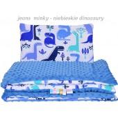 Małe Duże poduszka do łóżeczka Minky 40x60cm Jeans Minky Niebieskie Dinozaury