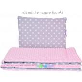 Małe Duże poduszka do łóżeczka Minky 40x60cm Róż Minky Szare kropki