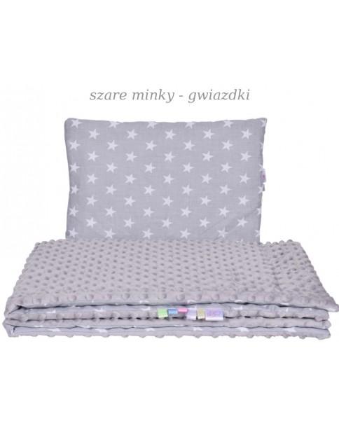 Małe Duże poduszka do łóżeczka Minky 40x60cm Szare Minky Gwaizdki