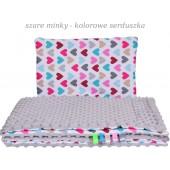 Małe Duże poduszka do łóżeczka Minky 40x60cm Szare Minky Kolorowe Serduszka