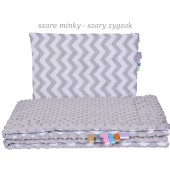 Małe Duże poduszka do łóżeczka Minky 40x60cm Szare Minky Szary Zygzak
