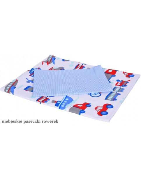 MD Pościel 4-elementowa Pościel drukowana Rowerek Niebieskie paseczki